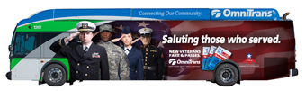 Omnitrans veteran salute bus wrap will be ion display at the event