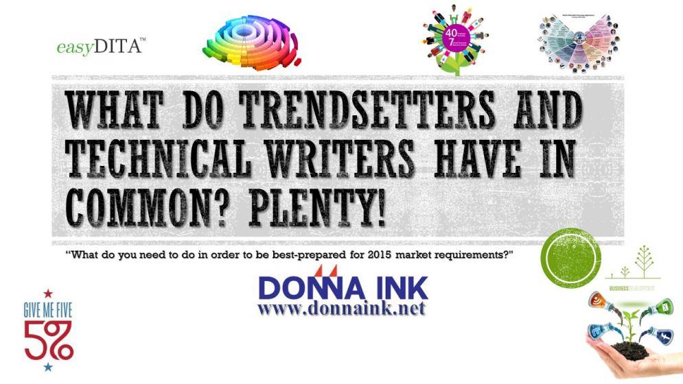 Donna Ink's recommended Tech Writer Trends for 2015