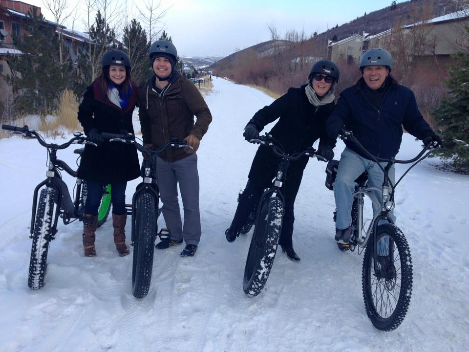 Couples in Park City, Utah, enjoy a fun ride in the snow.