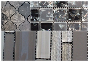 Grey Mosaics in sparkle glass, natural stone and textured glass