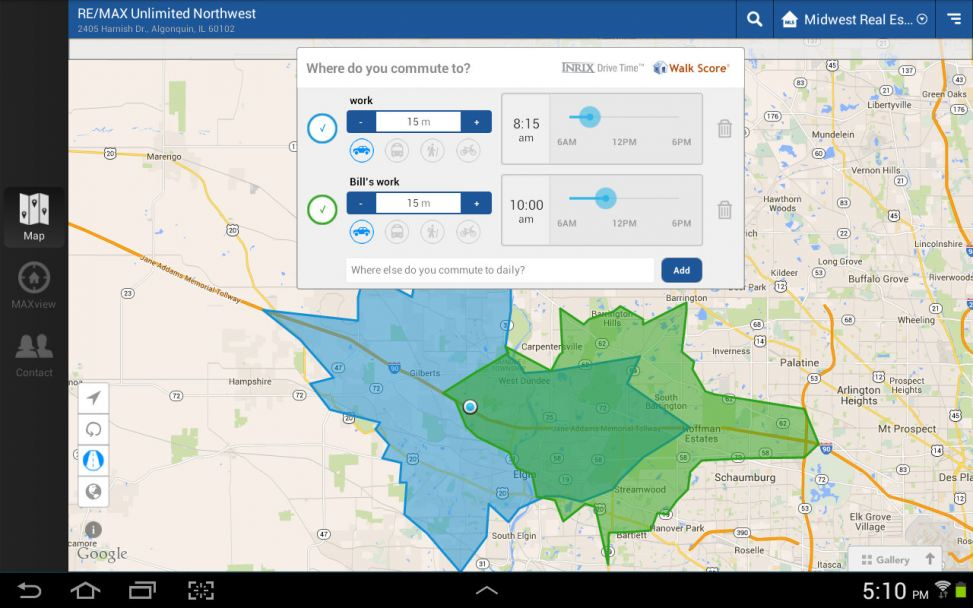 Commute Time Search on the RE/MAX Northern Illinois Real Estate App