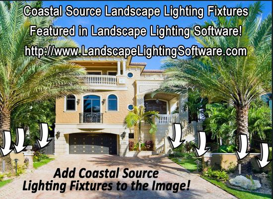 Coastal Source Fixtures placed on an image where they would be installed.