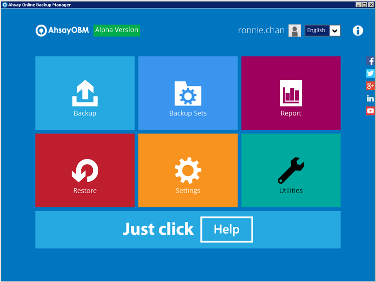 New AhsayOBM v7 home screen