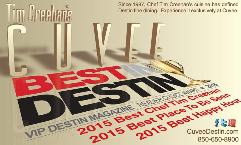 Tim Creehan's Cuvee Wins Three 2015 Best In Destin Awards