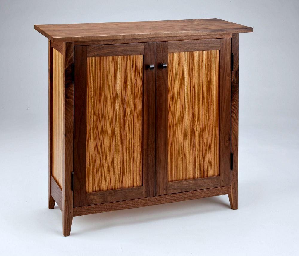 Zebra Walnut Side Cabinet