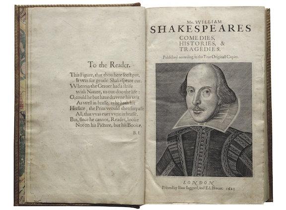 Shakespeare First Folio, 1623. Folger Shakespeare Library