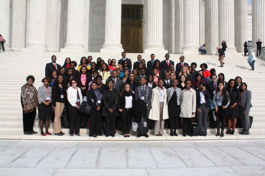 Attendees in front of Supreme Court