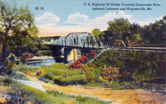 old postcard Gasconade Bridge