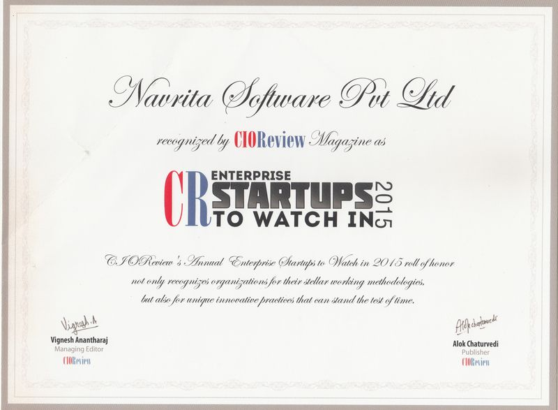 Recognizing innovative product - Kreato CRM by Navrita Software