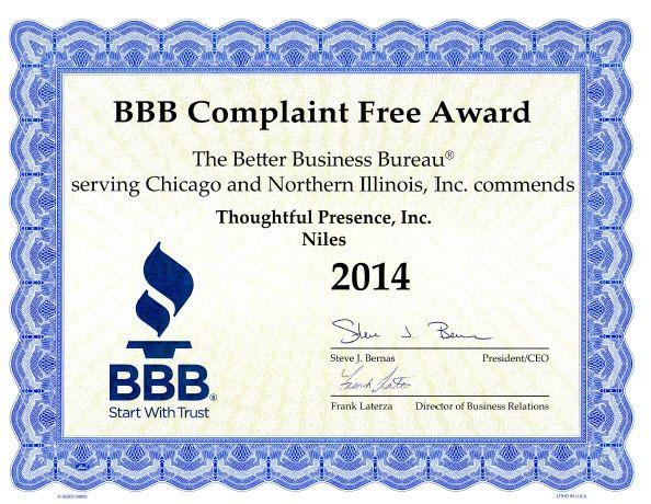 BBB complaint free award 2014