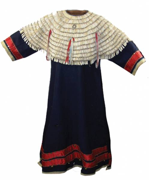 This Sioux dentalium (tooth shell) and tradecloth dress sold for $7,475 Mar. 7-8