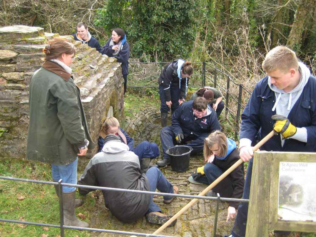 Students Looking after St Agnes Holy Well Cothelst