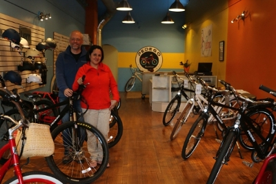 Mike and Gaby Hauser love showing off electric bikes at Pedego Boston.