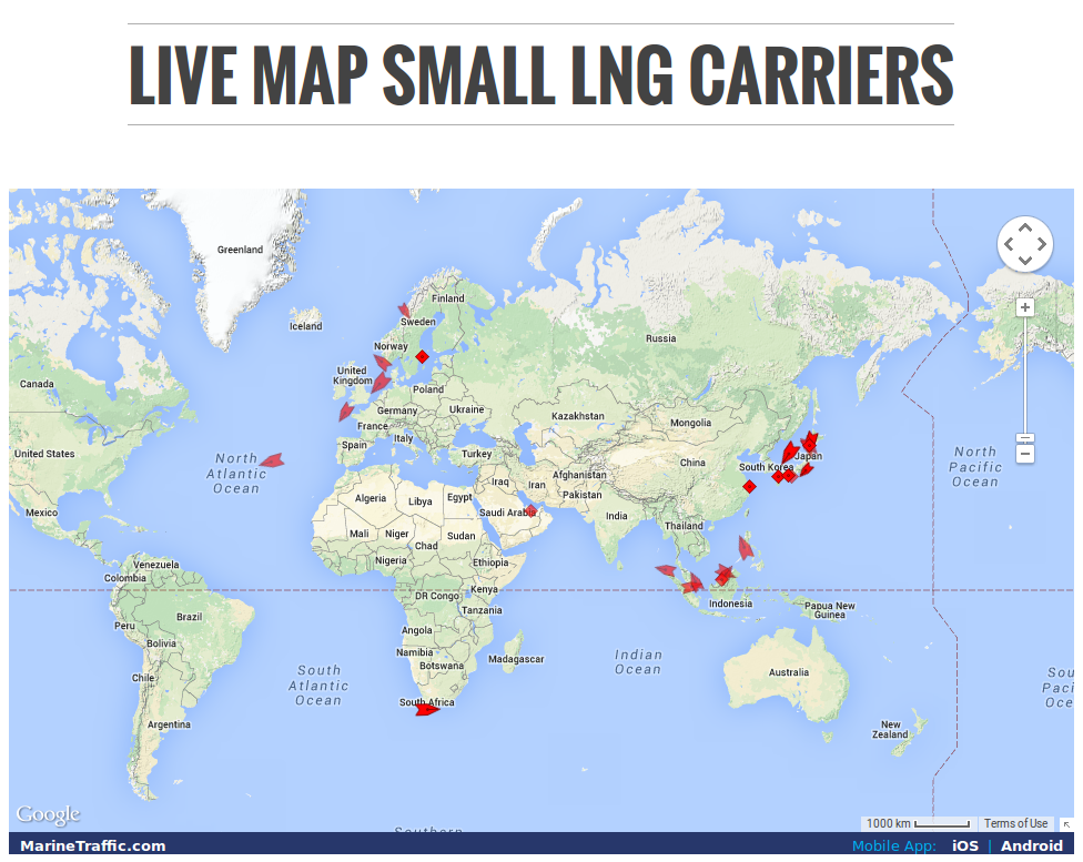 Live Map of Small Scale LNG Ships in the World Small PRLog