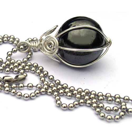 Bead Lovers Korner Hematite Sphere Pendant Necklace