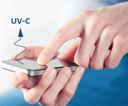 UV-C disinfection by nano-coated touch screen using body and electronics heating