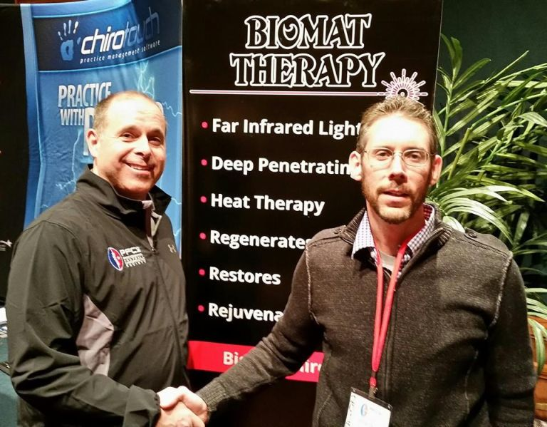 Dr Frank Brady Philadelphia Eagles & Dr Todd Austin - Biomat Therapy booth 2015