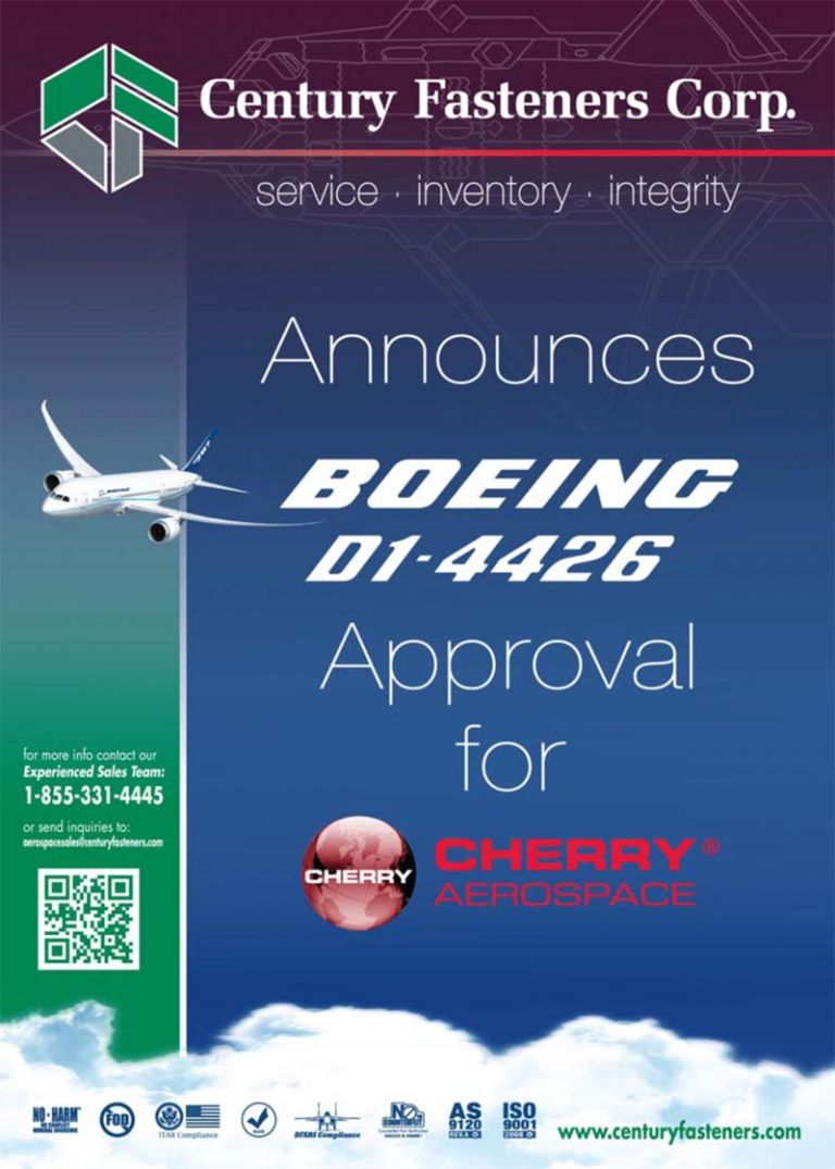 Century Fasteners Corp. Approved for Boeing D1-4426 Rating by Cherry® Aerospace