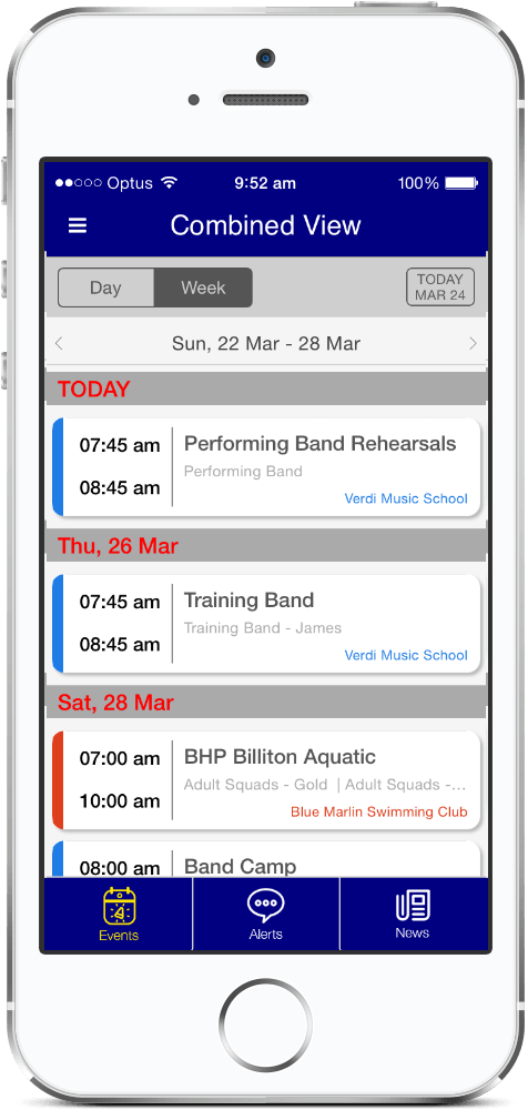 In My Diary Calendar View showing events from multiple organizations in one view
