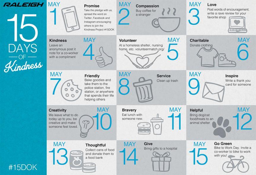 15 Days of Kindness Calendar