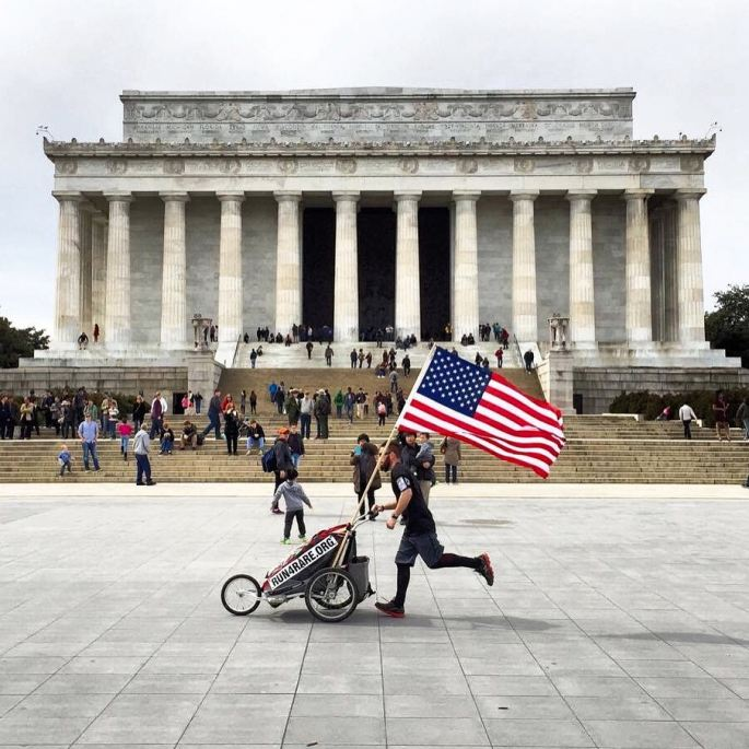 Noah and the American Flag at the Lincoln Memorial