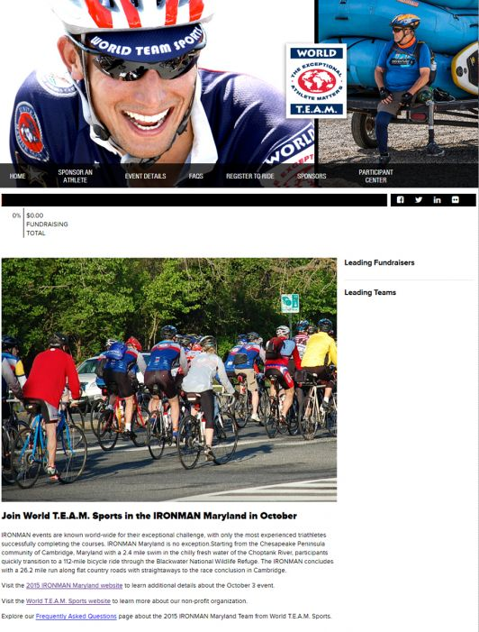 World T.E.A.M. Sports IRONMAN Maryland Team site.