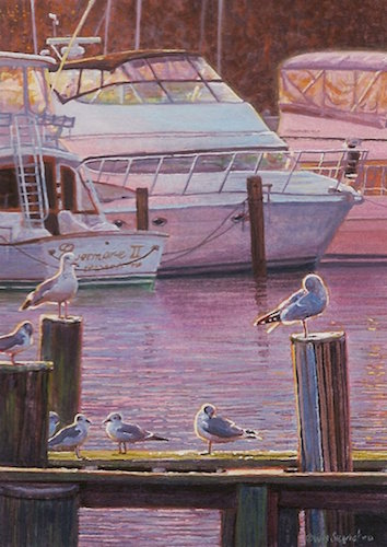 "Sunrise at the Marina by Siegrist 3 1/2"" x 2 1/2"""