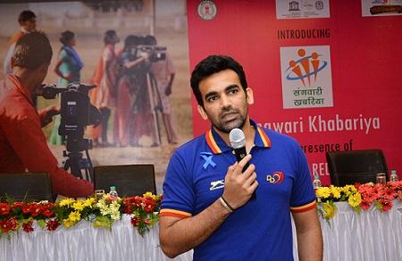 Cricketer Zaheer Khan of Delhi Daredevils team