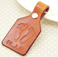 Leather Footprint Keyring