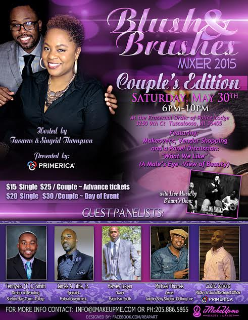 2015 Blush and Brushes MakeUp Mixer will be hosted by iMakeUpMe May 30th.