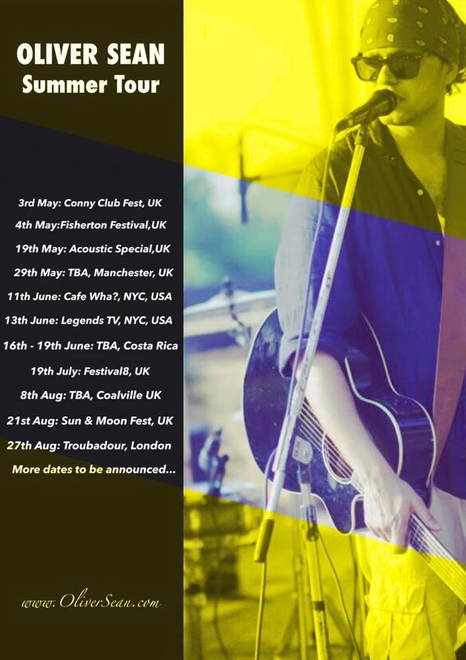 Oliver Sean Stripped Down Summer Tour Schedule