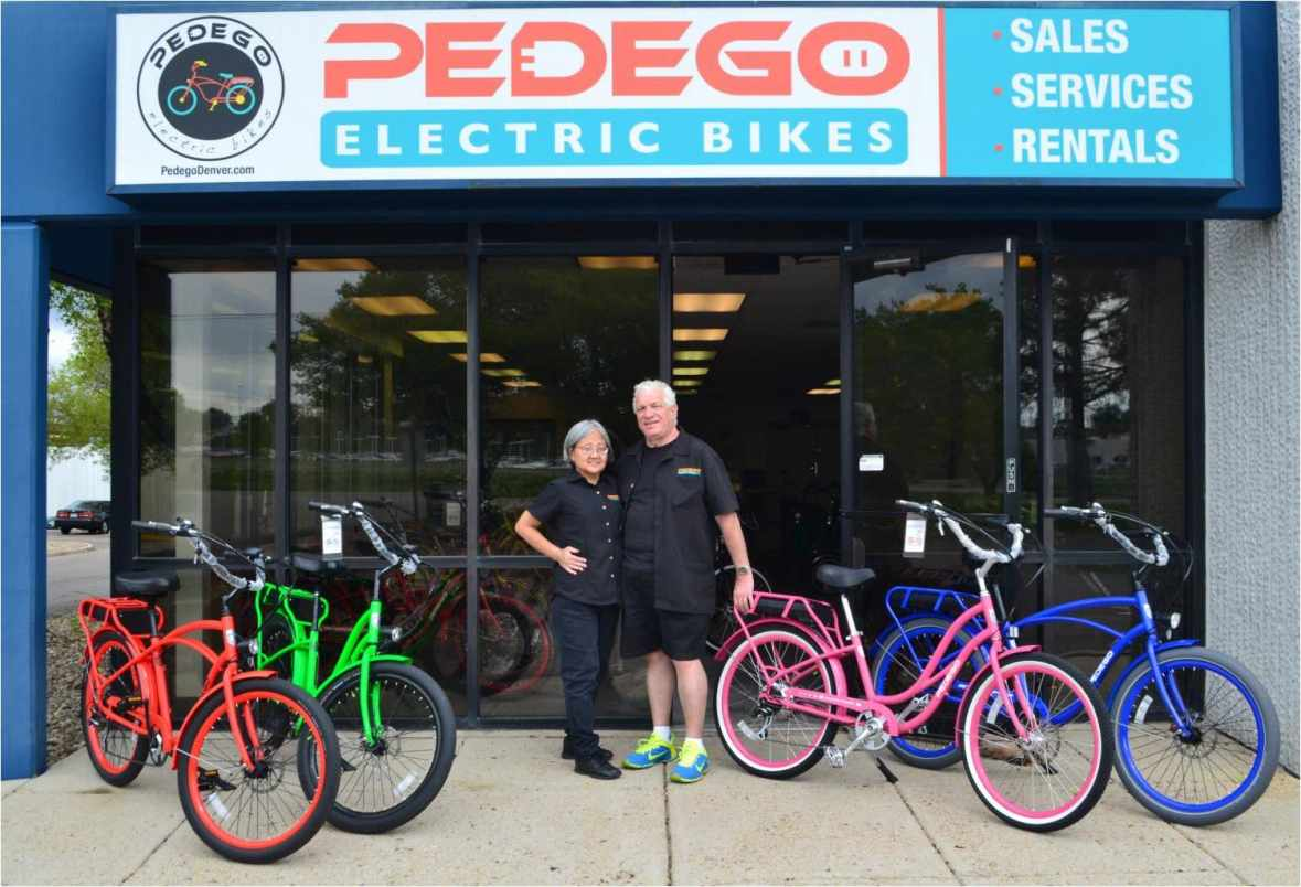 Jean and Terry Gehrke of Pedego Denver show off their amazing electric bikes.