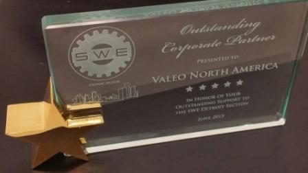 Valeo NA earned the SWE Detroit 2015 'Outstanding Corporate Partner' Award