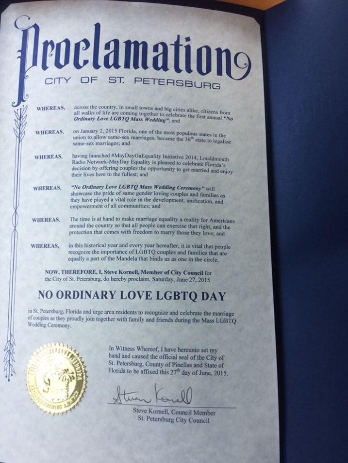 """NO ORDINARY LGBTQ DAY"" PROCLAMATION June 27th, 2015"