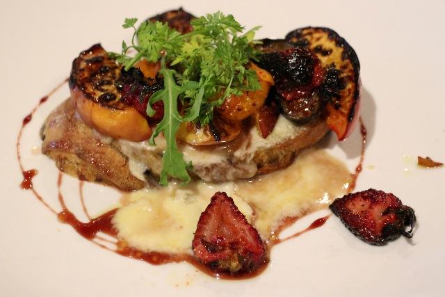 Freestone Peaches with Walnut-Raisin Bread Crostone and Gorgonzola Dolce