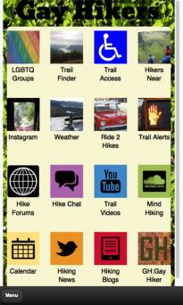 Screenshot of Gay Hikers Mobile App