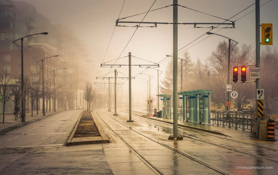 Fog Deserted Street, Toronto Photography by Nicky Jameson