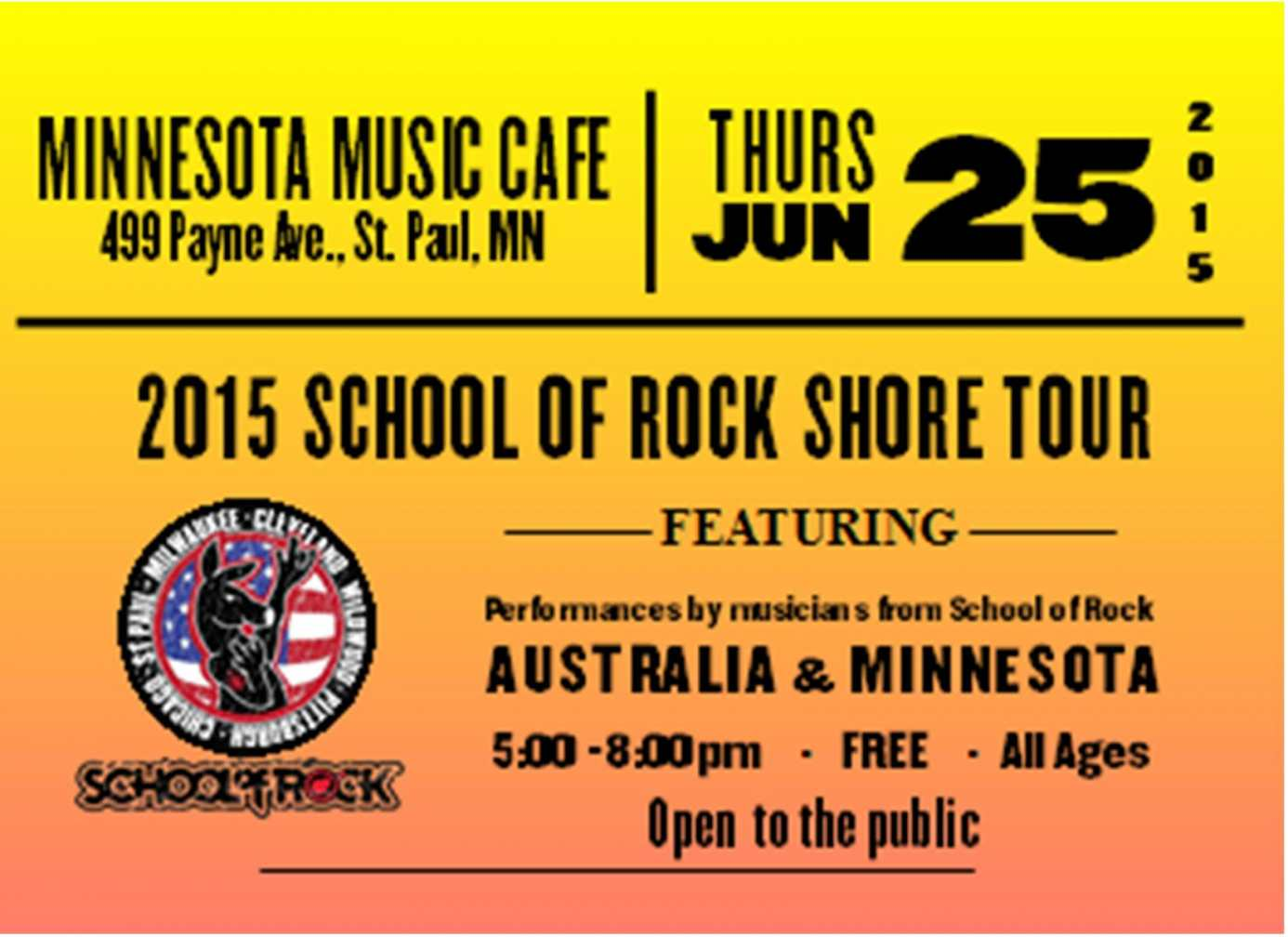 June 25, free all-ages concert in St. Paul MN