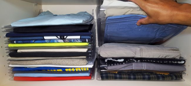 EZSTAX keeps your clothes piles neat and lets you pull an item from the middle!