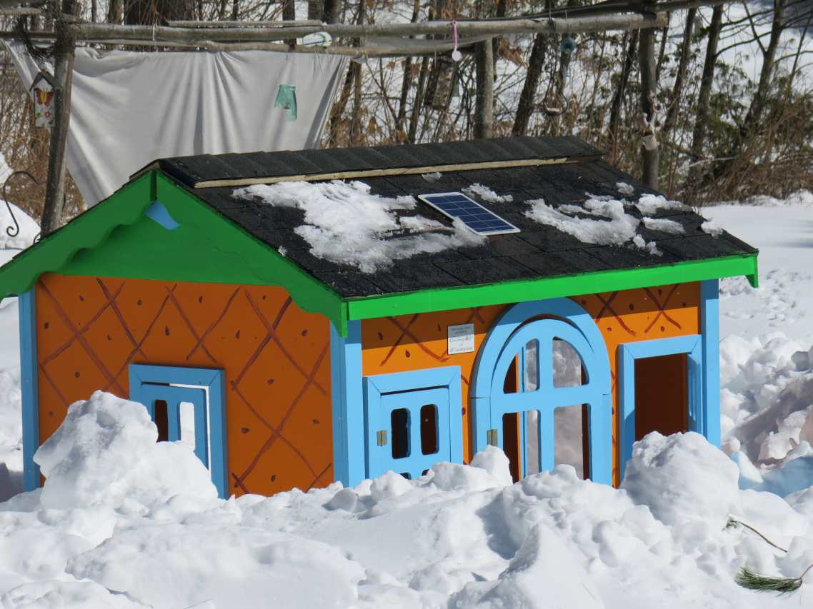 Habitat for Humanity playhouse with solar energy system on the roof