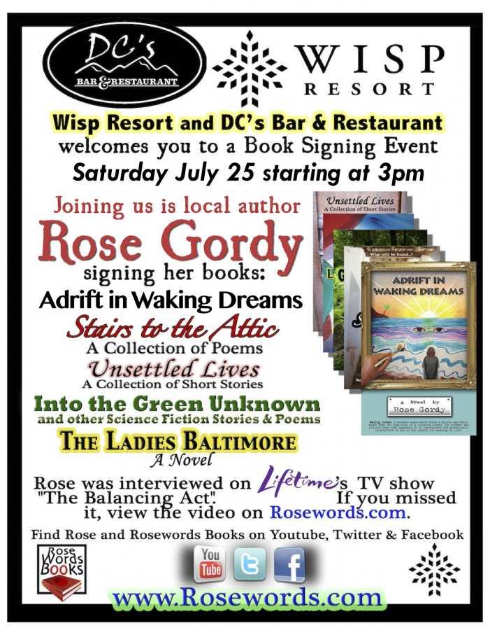 Rose Gordy - Book Signing Flyer for Wisp Resort - July 25, 2015
