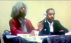 Left to right: Marshall Barnes & Ronald Mallett at 2007 MarCon. Copyright 2007