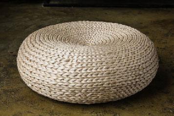 Handmade floor cushion made from grass