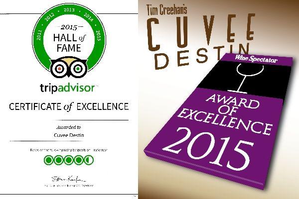 Tim Creehan's Cuvee Destin Tripadvisor Hall of Fame, Wine Spectator Award
