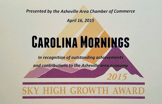 Carolina Mornings' 6th Sky High Growth Award