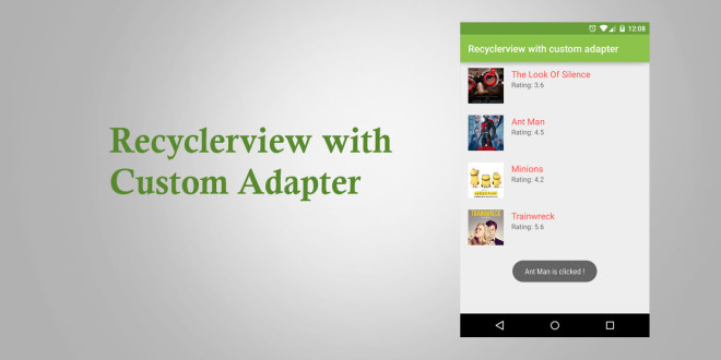 Android Recyclerview with custom adapter - Tutorial