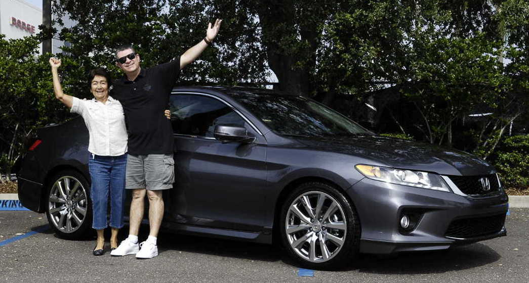 Jerry Stewart takes delivery of Honda Accord Coupe with Mother Daisy Stewart