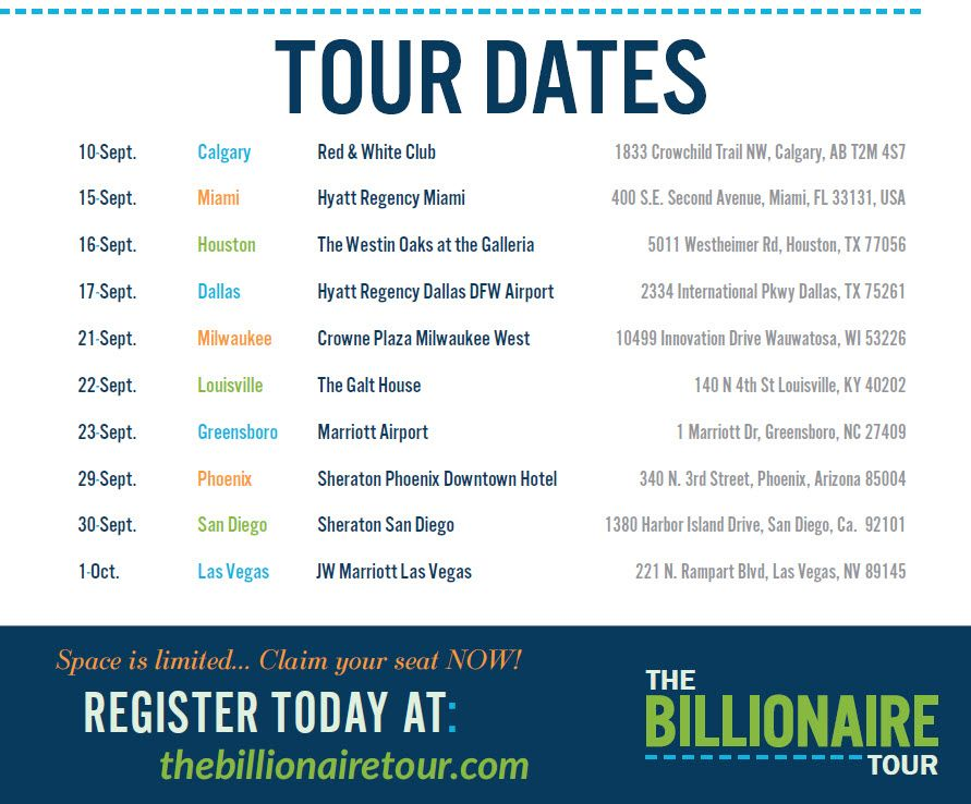 Brad Sugars' Billionaire Tour Dates