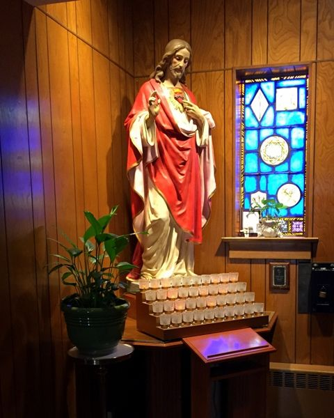 Statue of Jesus displayed inside St. Mary's Church