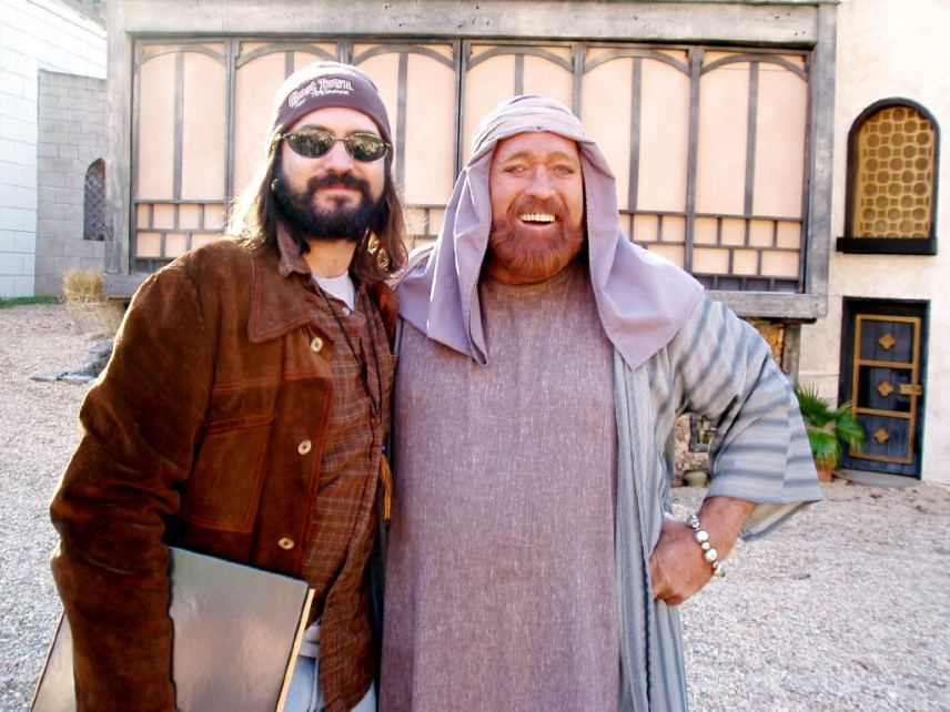 """Dan Haggerty and DJ Perry on set """"Book of Ruth, Journey of Faith"""""""